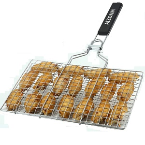 AIGMM PORTABLE STAINLESS-STEEL BBQ BARBECUE GRILLING BASKET